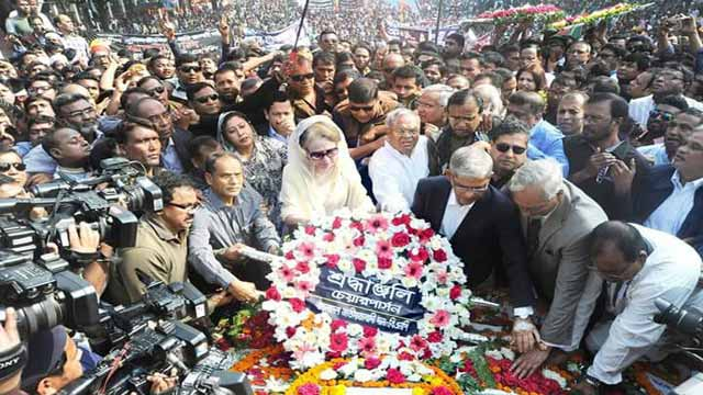 Khaleda Zia pays homage to martyred intellectuals