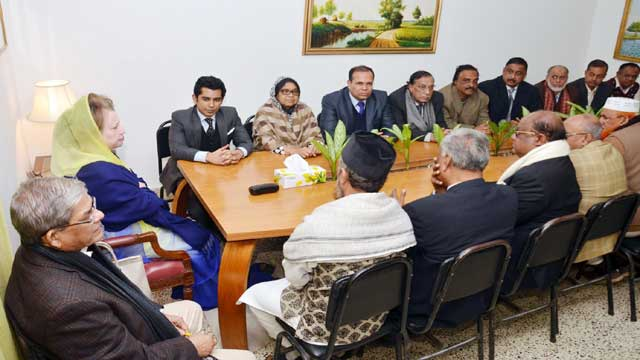 Khaleda Zia sits with 20-party leaders