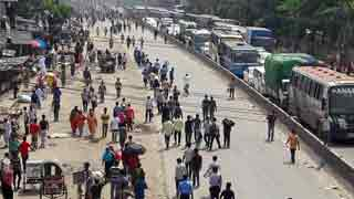 RMG workers block Dhaka-Mymensingh highway demanding due salaries