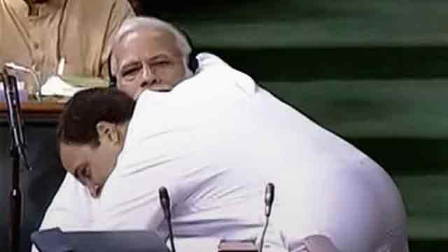 Rahul hugs Modi in surprise move