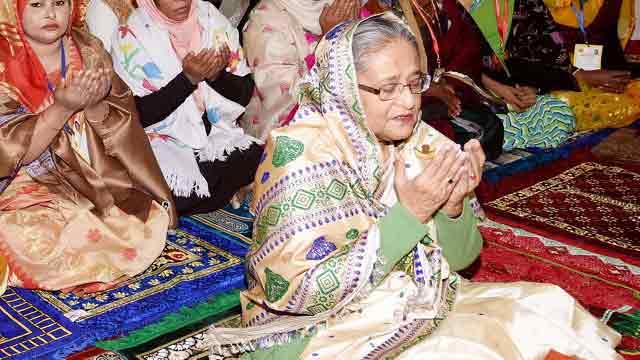 Hasina in Sylhet; offers fateha at shrines