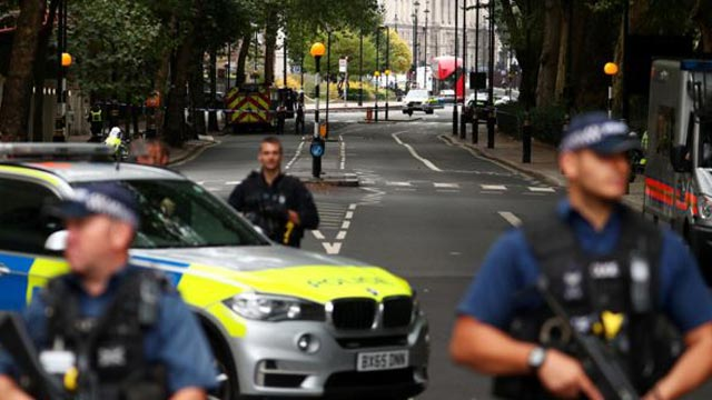 Pedestrians injured as car crashes outside UK Parliament
