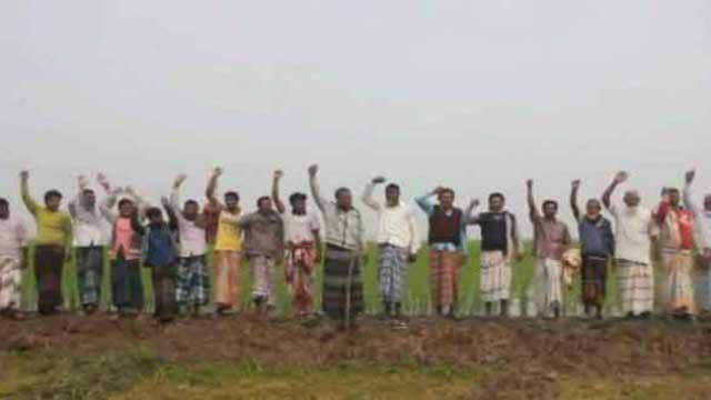 নাটোরে সেচমূল্য বৃদ্ধির প্রতিবাদে কৃষকদের বিক্ষোভ