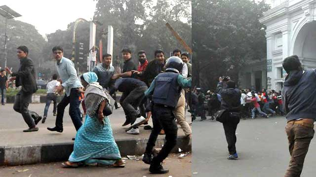 BNP men clash with police in capital city