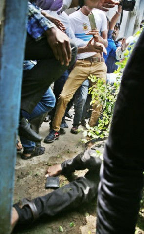 Machete-wielding attackers swoop on Bangladesh General Students' Rights Protection Council leader Nurul Huq in front of Dhaka University central library as they gathered there for holding a news conference on next course of their quota reform movement on Saturday.