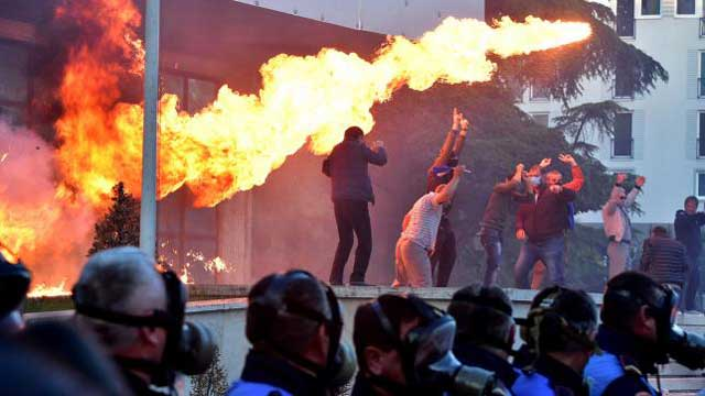 Albanian protesters hurl petrol bombs at PM's office, seek snap polls