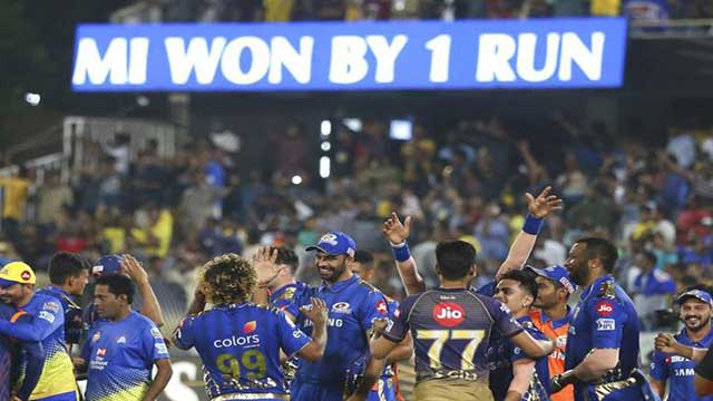 Mumbai wins nail biting IPL final by 1 run
