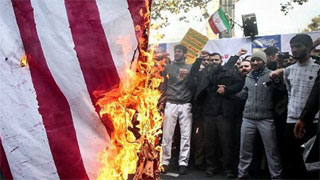 """Iranians chant """"Death to America"""" on eve of US oil sanctions"""