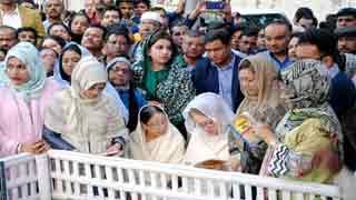 Khaleda Zia prays at Koko's grave on his death anniv