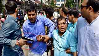 Plainclothes police wield weapons during BNP's protest
