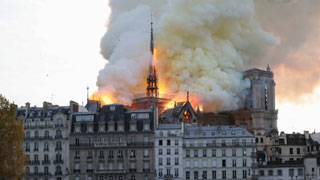 Fire in Paris Notre-Dame cathedral
