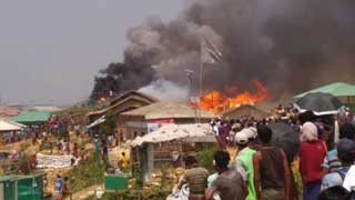 Fire at Rohingya camp in Cox's Bazar; 50 houses gutted