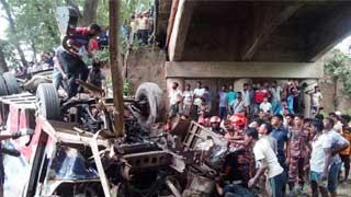 Bus falls off bridge in Faridpur; 8 dead