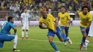 Brazil's Miranda silences Argentina with injury-time header