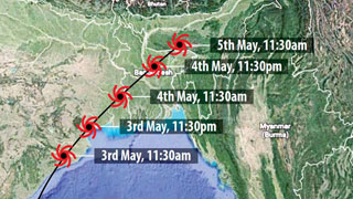 Thousands stranded in Dhal Char amid cyclone risk