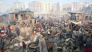 Dhaka slum fire doused, two injured