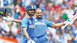Dhawan ton helps India down Australia