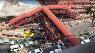 Workers block road in city demanding arrear