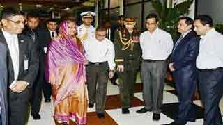 Hasina returns home from Paris