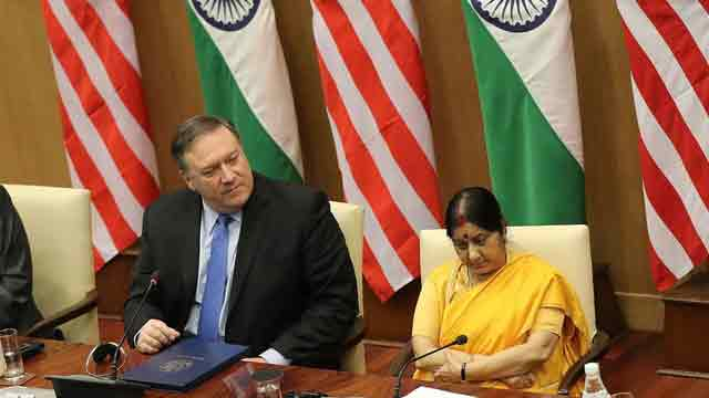 Pompeo meets Indian Foreign Minister Swaraj