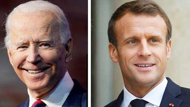 President Biden speaks with France President