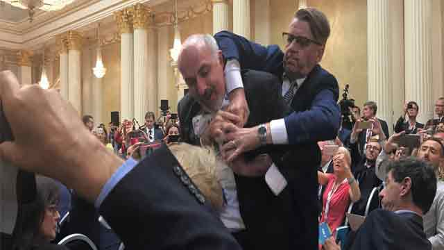 Op-Ed writer for The Nation forcibly removed from Trump-Putin presser