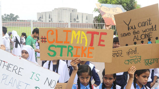 Children join global climate strike in Dhaka