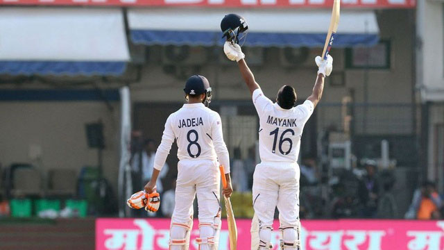 Mayank's double-ton helps India extend lead to 343