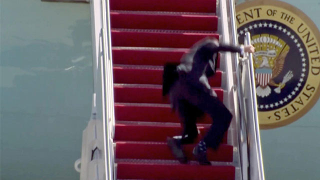 President Biden slips three times in Air Force One fall