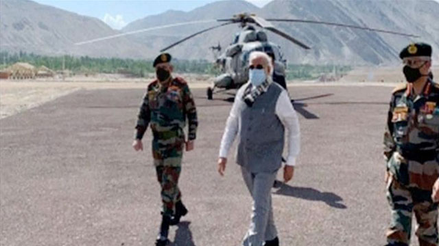 Modi visits military base in Ladakh close to China border