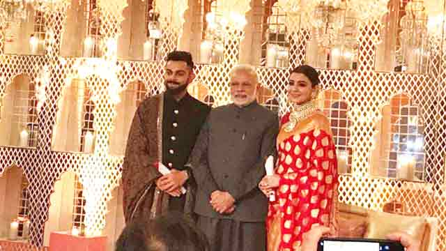 Modi attends Kohli, Anushka's Delhi reception