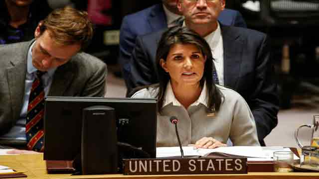 Haley's remarks at UNSC meeting on US, UK, French Military strikes in Syria
