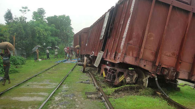 Freight train derailed in Tejgaon